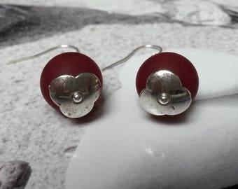 Polaris red Pearl Earrings