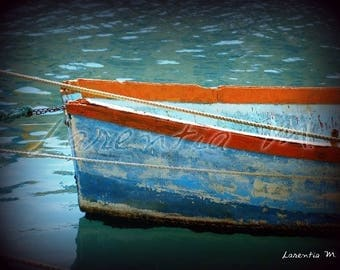 Photo 30X40cm with a blue Mediterranean fishing boat