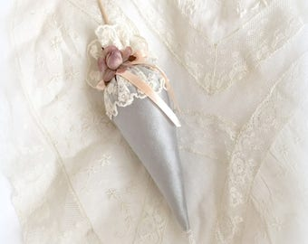 Scented with blue/gray silk and lace umbrella