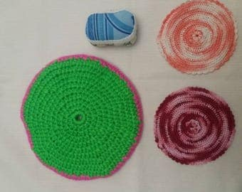 Trivet set, two pot holders and a Pincushion