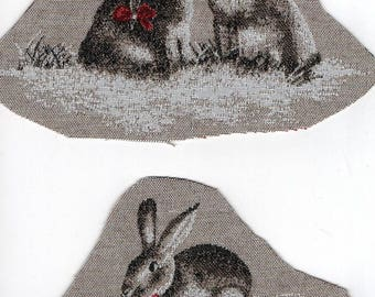 2 rabbits textile applications: M and Ms Lapin and Jeannot Lapin with a bow tie