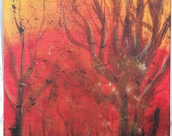 """Forest Fire ~ Abstract Painting Acrylic 12""""x16"""""""