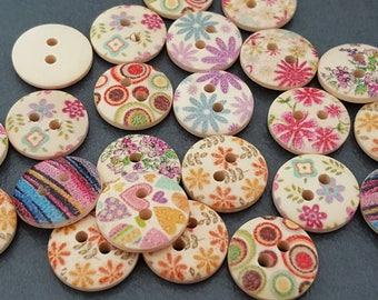 set of 50 fancy wood printed buttons