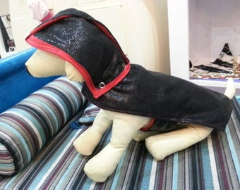 Hooded raincoat lined black and red dog collar