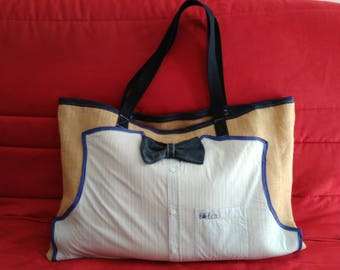 LARGE BURLAP AND BOW TIE CANVAS TOTE BAG