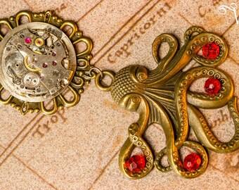 Movement bronze Kraken Octopus Steampunk necklace watch antique bronze - tentacle