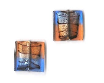 2 square beads Murano glass - Orange and blue - size 25 x 25 x 5 mm