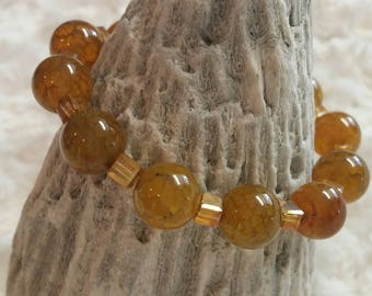 Dream agate and crystal beaded bracelet
