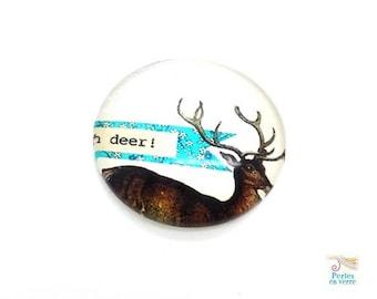 2 cabochons 25mm glass reindeer / deer (cab135)