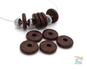 Chocolate brown: 10 beads matte ceramic rondelles, 2.5x12mm, Greece (pc182)