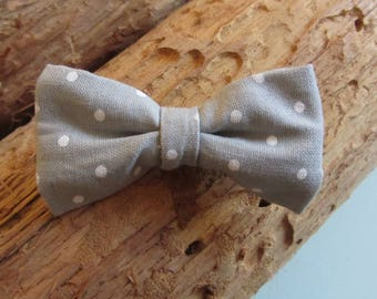 Barrette clip grey bow with polka dots