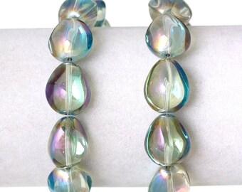 Chartreuse 17 oval glass Teardrop beads 10 x 14 mm