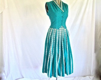 XS S 40s 50s 2pc Turquoise Blue Guatamalan Dress Set Outfit Vest & Skirt by Rigalt Design Extra Small