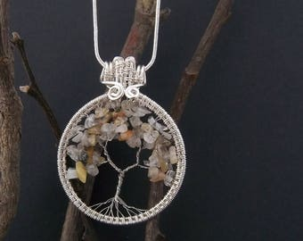 Hand crafted wire wrapped rutilated quartz tree of life necklace