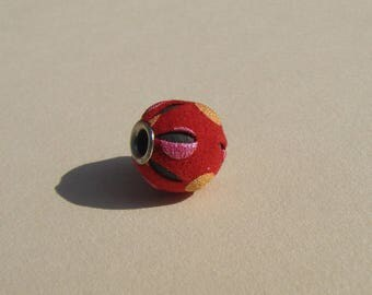 Pearl 12 mm, red pink and yellow patterned leather.