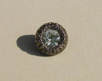 Round button, 11 mm tab, plastic and metal black faceted rhinestones.