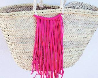 MIA- Boho Ibiza Straw Basket - Market Shopping Beach Bag- Tassel- Bohemian Hippie Style - ANY LETTERS