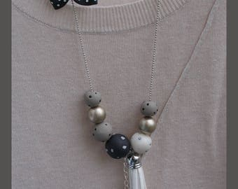 """""""beautiful black and white"""" necklace"""