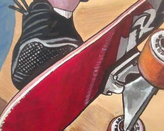 skateboard, Acrylic paint, chalkboard