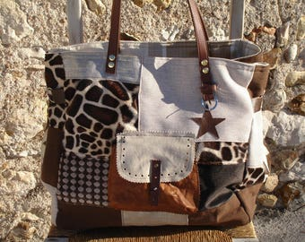Flax - Patchwork - silver - faux fur giraffe - leather