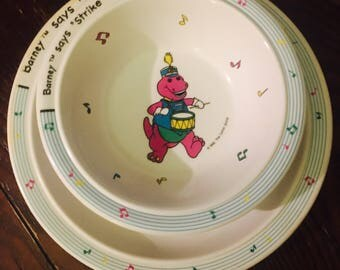 """1992 """"Barney Says Strike Up The Band"""" Plate and Bowl SET"""