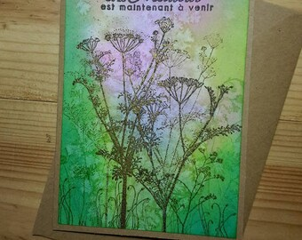 """Card all occasions """"wildflowers"""" Kraft"""