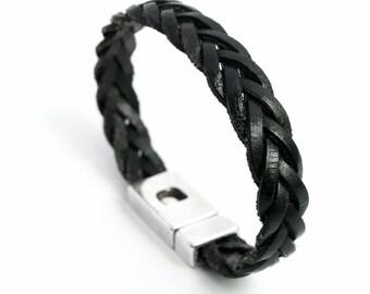 Men's 12mm black braided leather bracelet
