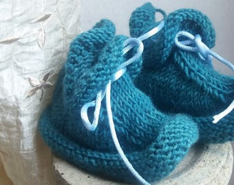 Teal 6/12 months in soft Merino Wool slippers