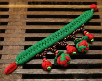 Strawberry & Butterfly Fabric Cotton Bracelets