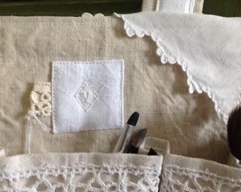 Oddments of fabric samples, mother of Pearl buttons, V Monogram