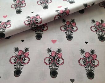 New, 100% cotton fabric printed Zebra pink glasses