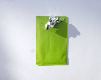 15 pockets 7 X 12 cm hand made green gift made in france for wrapping supplies packaging chicdepanne green kraft bag