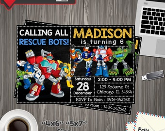 Rescue Bots Invitation, rescue bots Birthday, rescue bots Printable, rescue bots Editable, rescue bots PDF, rescue bots party birthday,