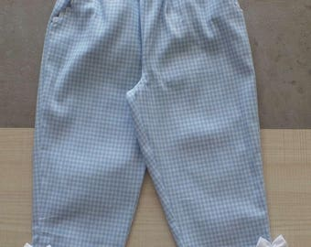 3 blue and white gingham cotton pants