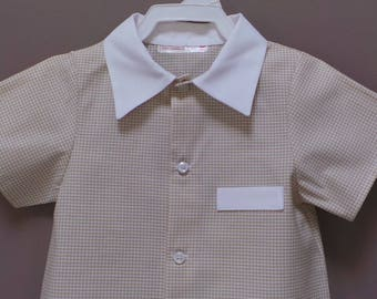 chic 3 light brown and white gingham cotton shirt