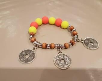 Orange and neon yellow bracelet