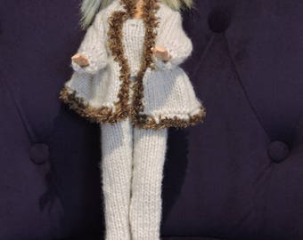 Clothes for Barbie, knitted by hands, jacket, pants, top and hat in beige color