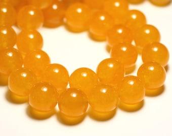 Wire 39cm 27pc env - stone beads - Jade balls 14 mm yellow mustard saffron