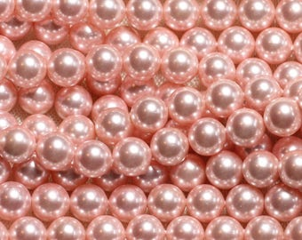 39cm - mother of pearl beads wire balls 8mm Pastel Rose