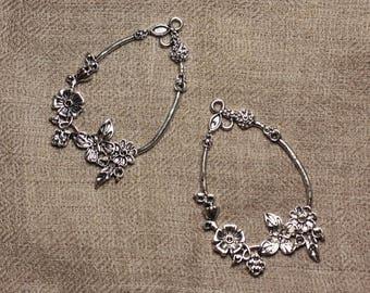 1pc - charm pendant 55mm 4558550032287 flowers Rhodium