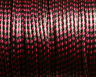 5 Metters - 2mm black waxed cotton cord and Red Rose 4558550007025