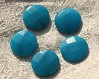Stone - blue Jade bead 1pc - faceted disc 25mm - 4558550015938