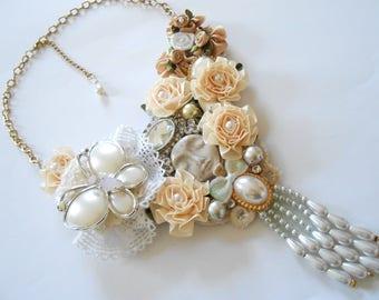 Shabby Chic bib necklace & rhinestone.