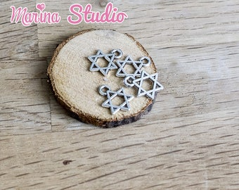 5 star of David charm in Tibetan Silver (Kabbalah charm)