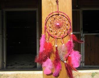 Pink and Burgundy tones dream catcher / actual 35 cm