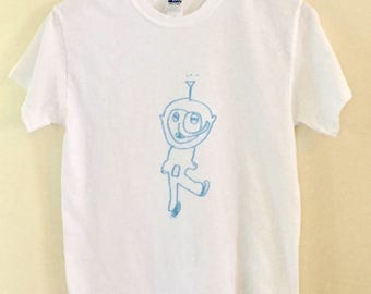 Ice skating Teletubbie Screen Printed fan art T-Shirt