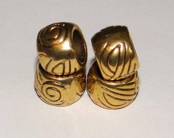 set of 4 antique gold metal beads
