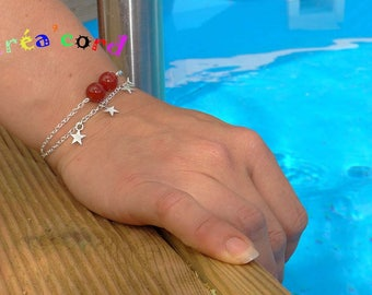 Thin chain and agate Bead Bracelet