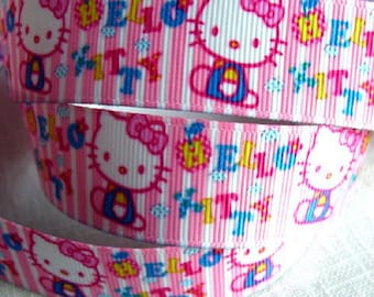 Printed grosgrain Ribbon * 22 mm * cat KITTY stripe pink - sold by the yard