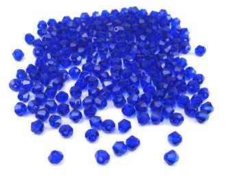 50 bicone beads faceted 4 mm dark blue